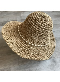 Women Summer Pearl Straw Sunhat