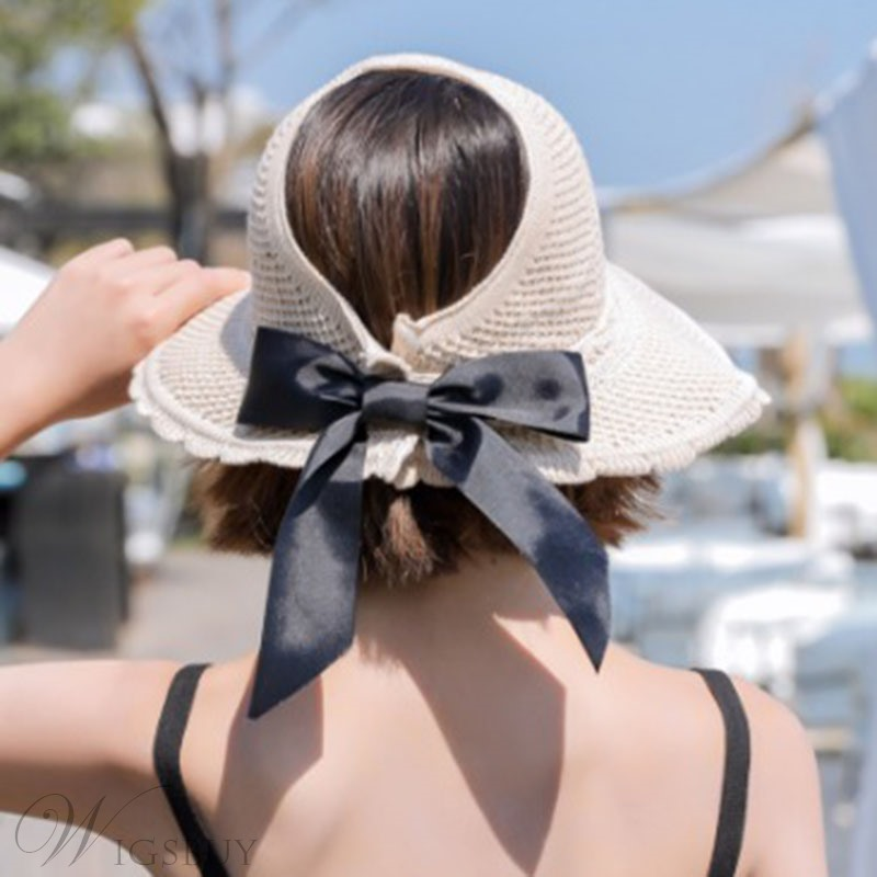 Women Summer Bowknot Straw Sunhat