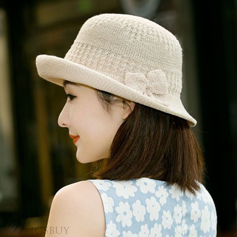 Women Flower Knit Sunhat Bucket Hat