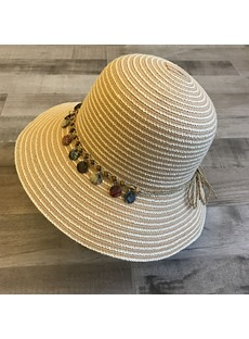 Woven Embroidery Shell Straw Sunhat For Women