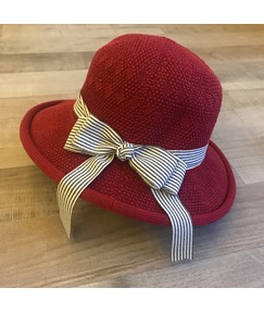 Woven Striped Bow Summer Straw Sunhat For Women