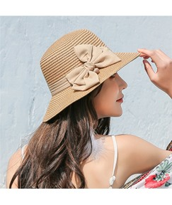 Wide Brim Bowknot Straw Sunhat