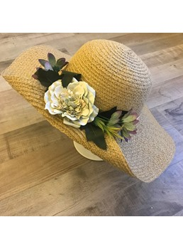 Woven Flower Summer Sunhat For Women