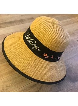 Woven Embroidery Straw Sunhat For Women