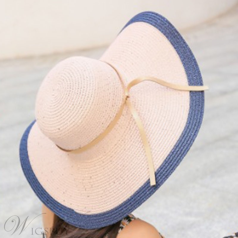 Woven Wide Brim Straw Sunhat For Women