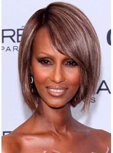 Short Straight Hairstyle Natural Color Human Hair Lace Front Wigs 12 Inches