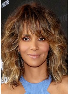 Sexy Lob Curly Layer Shoulder Length Synthetic Hair Capless Wigs 18 Inches