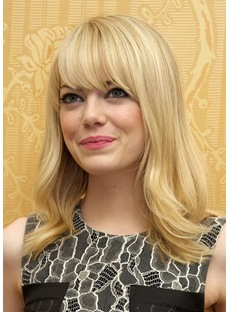 LOB Wavy Hairstyle Natural Color Human Hair Lace Front Wigs 24 Inches