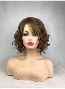 Short Brown Wigs Synthetic Hair Natural Wavy Wigs Full Capless Wig 14inch