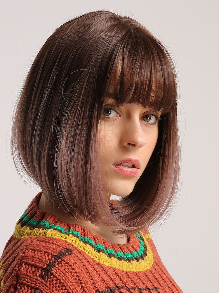 Short Bob Wig with Bangs Capless Straight Synthetic Hair Wigs 12Inch