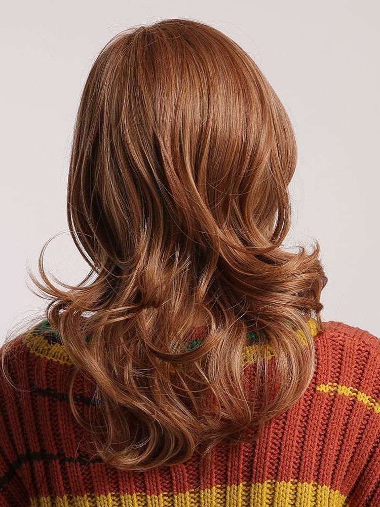 130% Density Fashion Light Brown Long Loose Wave Capless Synthetic Hair Wig 26inch
