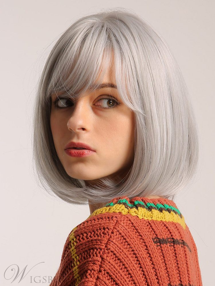 Women's Rose Net Ear Tabs Short Bob Styles Straight Synthetic Hair Wigs Capless Wig 12inch