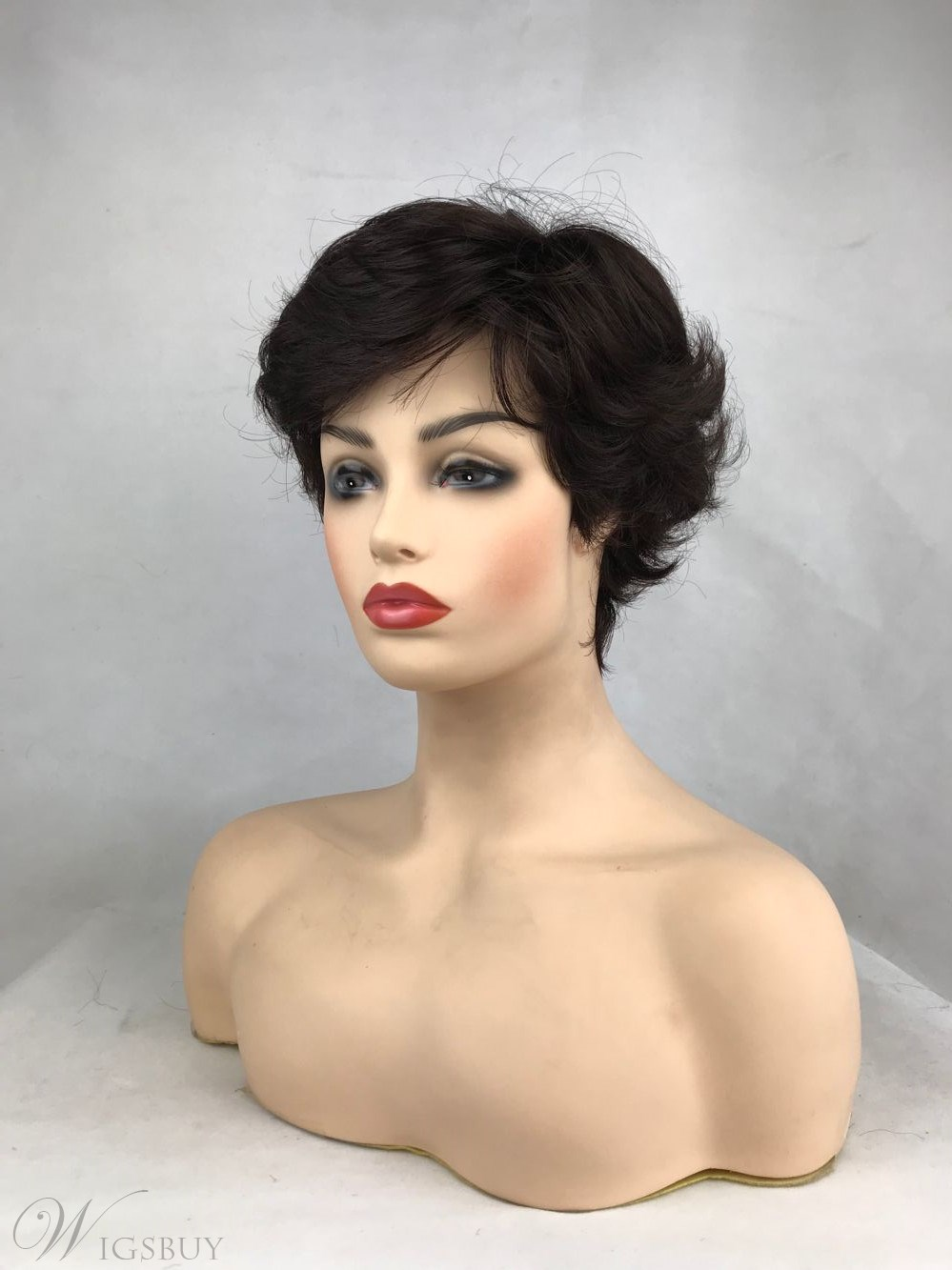 Women Short Natural Black Color Synthetic Hair Natural Straight Capless Wigs 10inch