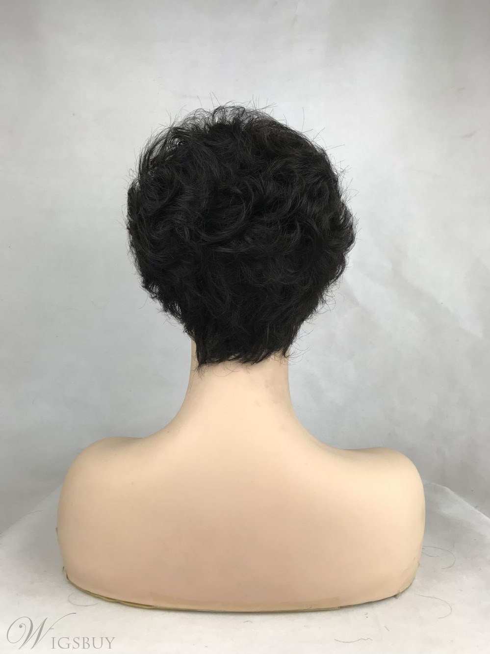 Fashion Black Short Curly Wavy Wig with Hair Bangs Capless Synthetic Hair Wig For Women 10inch