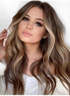 Sexy Women's Brown Color Long Synthetic Hair Wigs Body Wave Capless Wig 26inch
