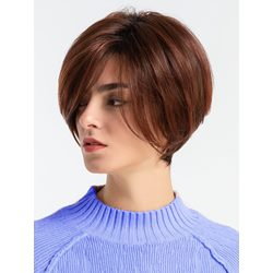 130% Density Womens Short Bob Style Human Hair Blend Capless Straight Wigs 10inch