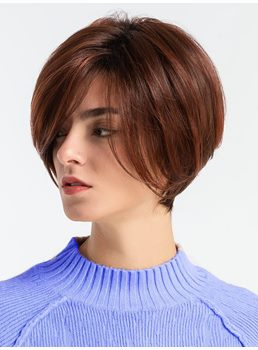 130% Density Women's Short Bob Style Human Hair Blend Capless Straight Wigs 10inch