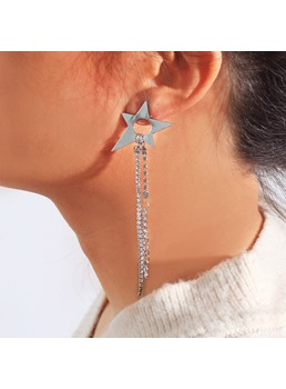 Star Diamante Tassels Earrings