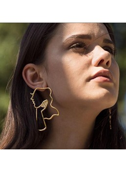 Fashion Golden Line Simple Earrings
