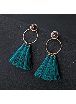 Peacock Blue Tassels Earrings