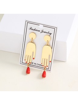 Palm Red Earrings Studs