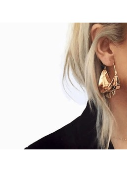 Fashion Golden Double Colour Simple Earrings