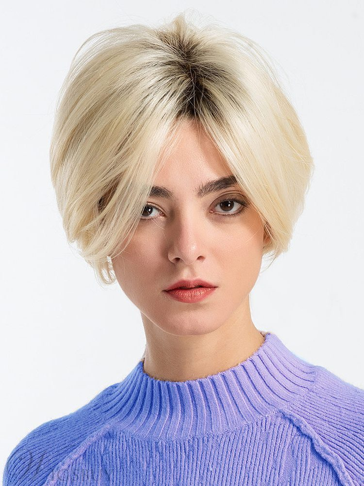 Women's Straight Human Hair Blend Wigs Bob Styles 1b/613 Capless and Elastic Net Wig 10inch