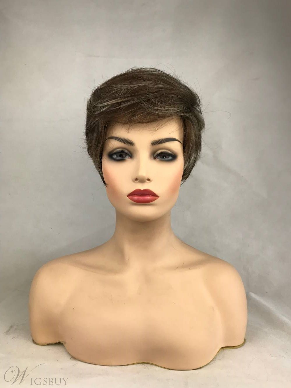 Short Brown Straight Synthetic Wig Heat Resistant Full Capless Hair Wig 14inch
