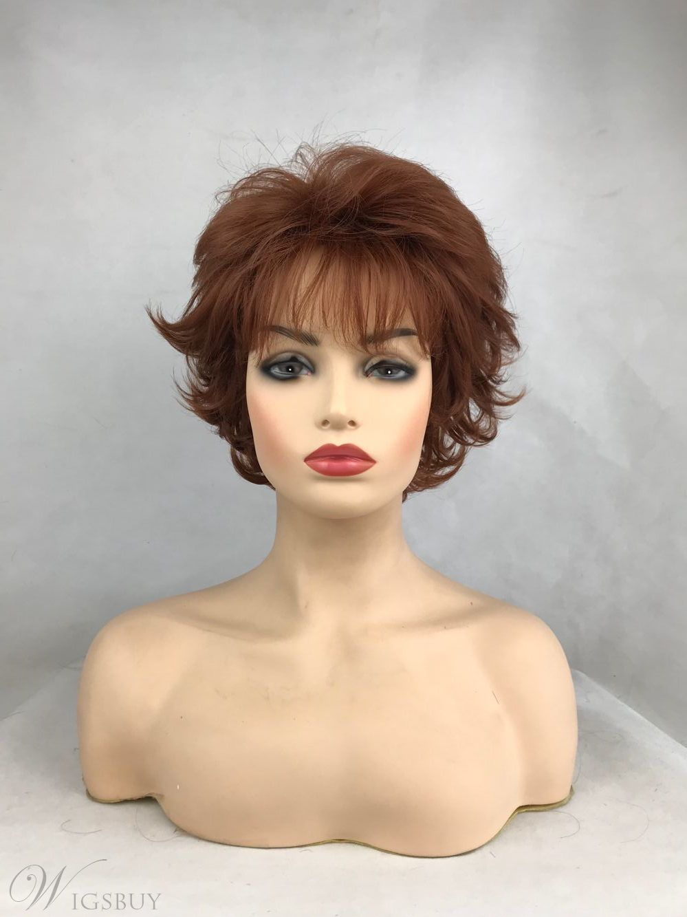 Short Natural Wave Brown Color Synthetic Wigs Full Capless Hair Thick Wig 12inch