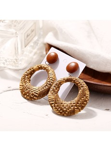 Wood Hollow Out Earrings