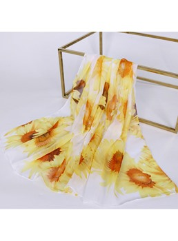 Chiffon National Style Sheer Sunscreen Sunflower Scarf
