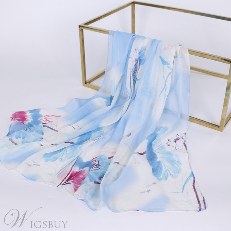 Rectangle Floral Printing Chiffon Scarf
