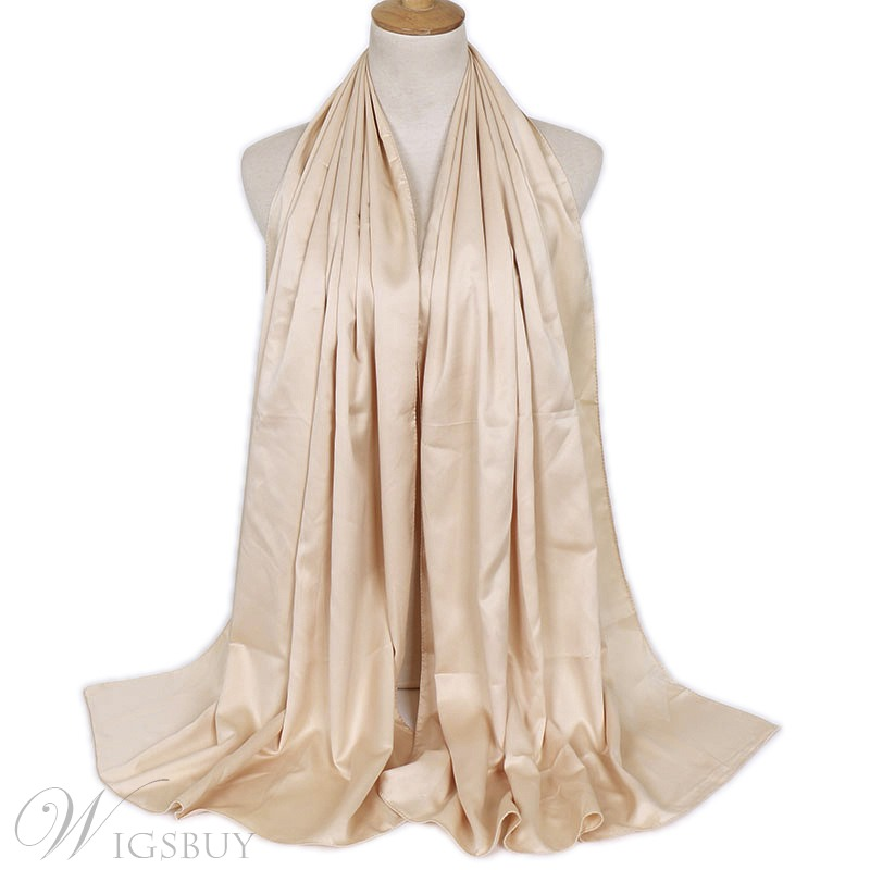 Rectangle Solid Color Silky Scarf For Women