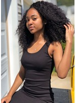 Sexy Shoulder Length Curly 100% Human Hair Capless Wig 22 Inches