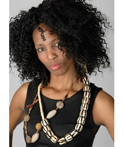 Attractive Kinky Curly Layer Human Hair Capless Wigs 20 Inches