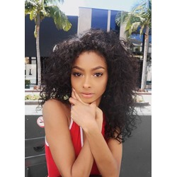 Shoulder Length Kinky Curly And Human Hair Lace Front Wigs 22 Inches