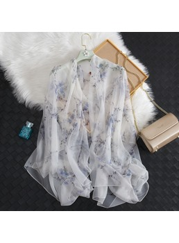 Artistic Pure Flower Cotton And Linen Elegance Scarf
