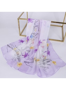 Artistic Pure Flower Cotton And Linen Rose Scarf