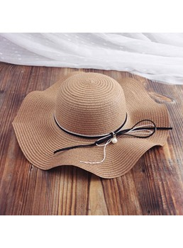 Pearl Bowknot Wave Straw Hat