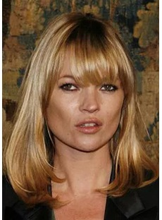 Kate Moss Long Straight Sexy Bang Layer Synthetic Hair Capless Wigs 22 Inches