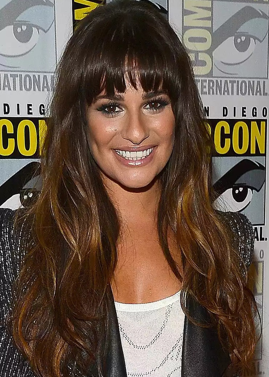 Lea Michele Long Straight Sexy Bang Layer Synthetic Hair Capless Wigs 26 Inches