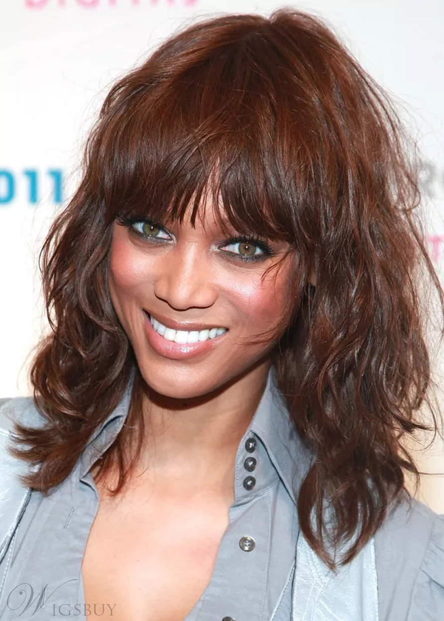 Tyra Banks Wavy Sexy Middle Length Layer Synthetic Hair Capless Wigs 18 Inches