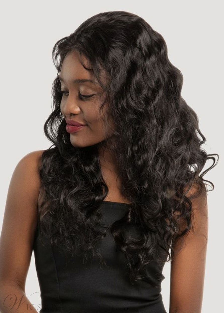 Sexy Deep Wave Layer Human Hair Capless Wigs 26 Inches