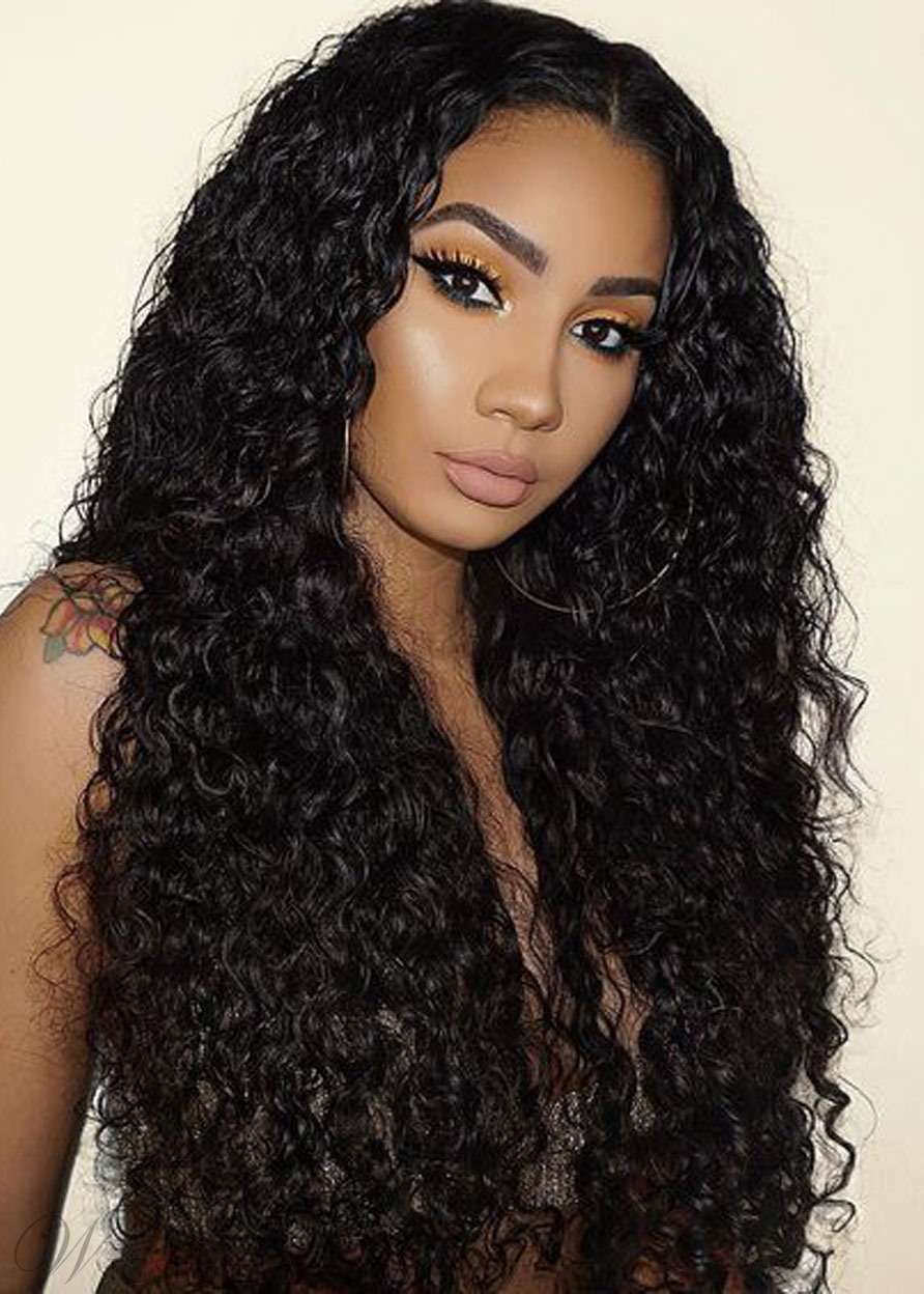 Hot Sale Long-Length Kinky Curly 100% Human Hair Capless Wigs 26 Inches