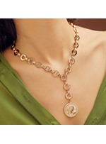 Alloy Round Embossment Necklace