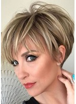 Women's Short Human Hair Wigs Short Straight Lace Front Wigs 12inch