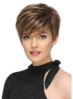 Short Fluffy Brown Mix Blonde Hair Wigs with Bangs Heat Resistant Synthetic Hair Capless Wig 10inch