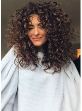 Sexy Women's Long Afro Curly Wig Synthetic Hair Lace Frontal Wig 22inch