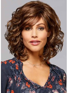 Mid Length-Curly Wavy Blonde Synthetic Hair Wigs Lace Front Wig 16inch