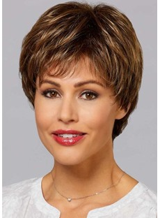 Brown Color Short Synthetic Hair Wigs Short Straight Lace Front Wigs 12inch